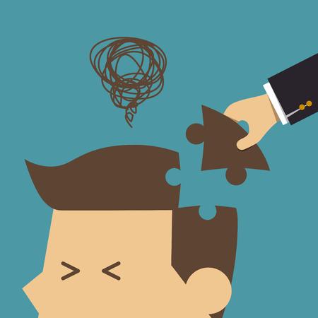 intelligent partnership: Hand put puzzle into head, Business concept