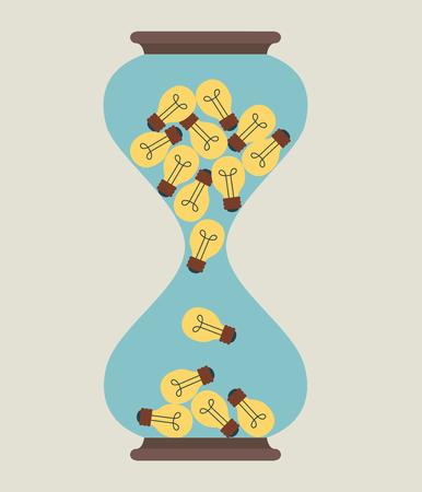 Hourglass idea light bulb, Illustration  Vector