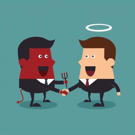 dandose la mano: Evil and angel d�ndose la mano, concepto de negocio Vectores