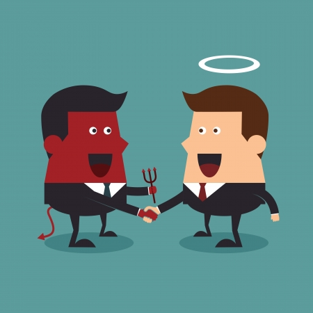 Evil and angel shaking hands, Business concept