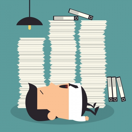 workload: Hard working night in office, Business concept Illustration