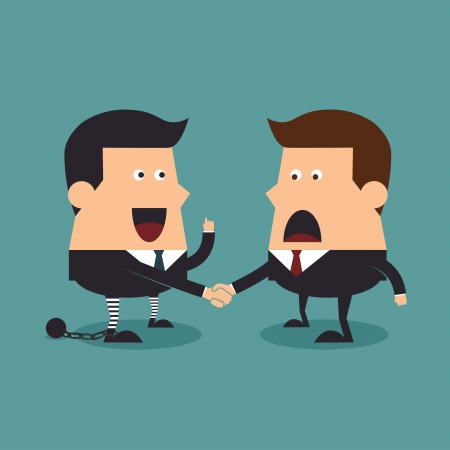 Businessman and criminal shaking hands, Business concept Vector