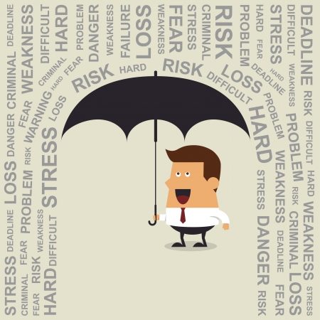 Young businessman with umbrella, Business concept Illustration