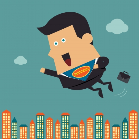 Flying business hero, Business idea Vector