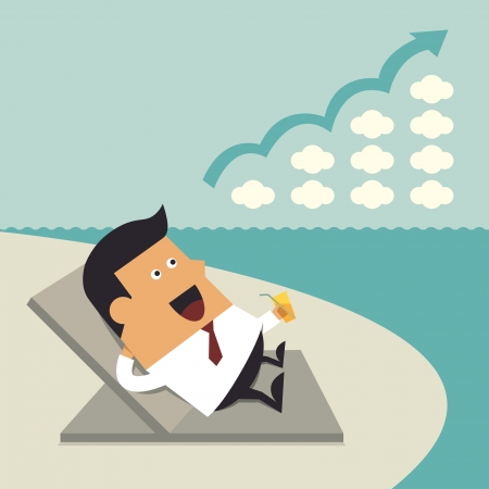Successful businessman relaxing on the beach, Business idea