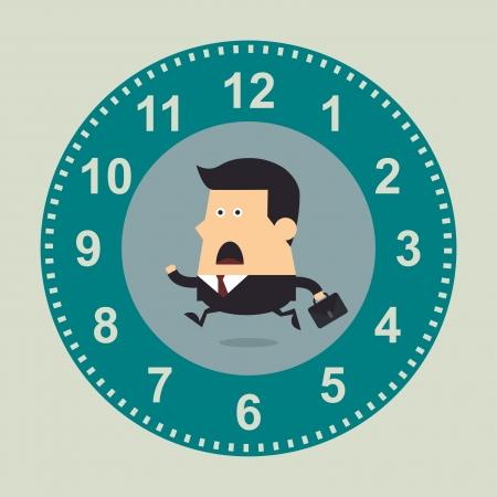 大時計、ビジネス コンセプトで実行している実業家  イラスト・ベクター素材