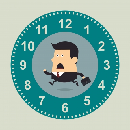 Businessman running in the big clock, Business concept Ilustração