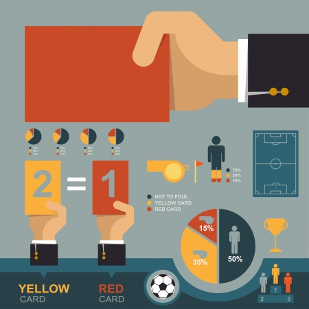 soccer referees hand with red card: Soccer infographic Illustration