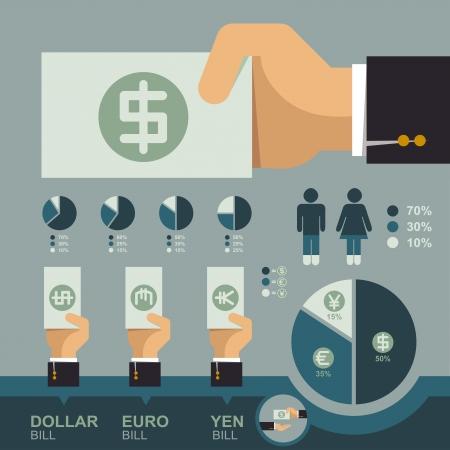 bank overschrijving: Hand geld bill infographics, Business concept Stock Illustratie