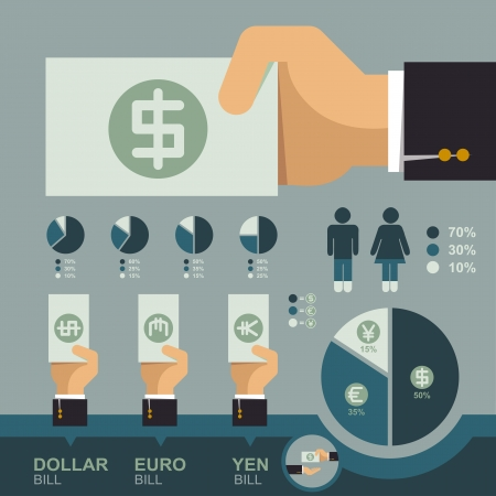 Hand holding money bill infographics, Business concept  Vector