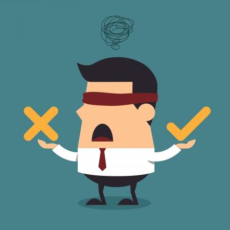 Geblinddoekt zakenman denken met goed en kwaad symbool, Business concept