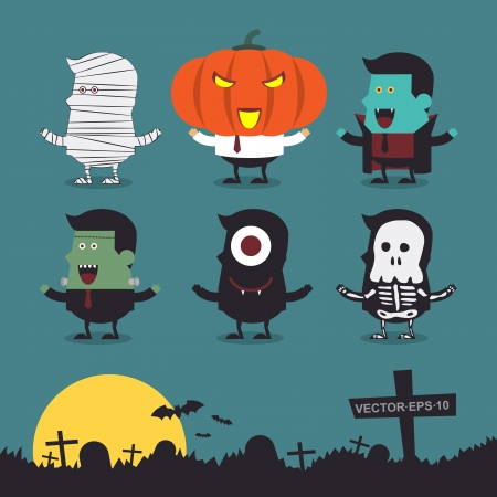Halloween characters icon set