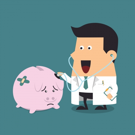 Doctor holding stethoscope to pink piggy bank, Business concept Stock Vector - 23211542