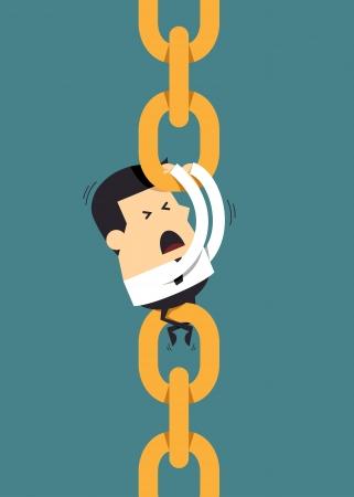 cadena rota: Hombre de negocios joven que sostiene el encadenamiento juntos, concepto de negocio
