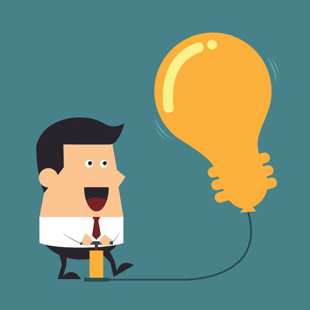 bombillo ahorrador: Hombre de negocios bombas joven para arriba un globo de un signo bombilla, concepto de negocio