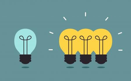Triple light bulb, Idea concept