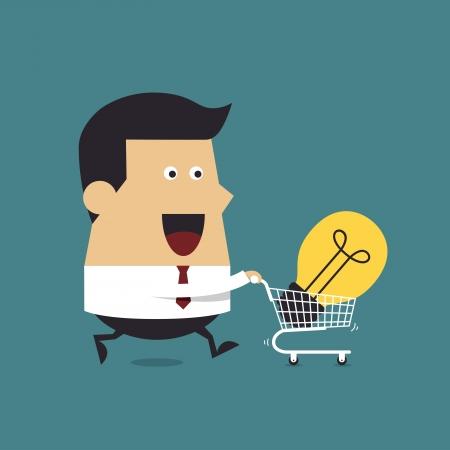 carting: Hombre de negocios con el carro de karts y la luz Idea bombilla, idea de negocios Vectores