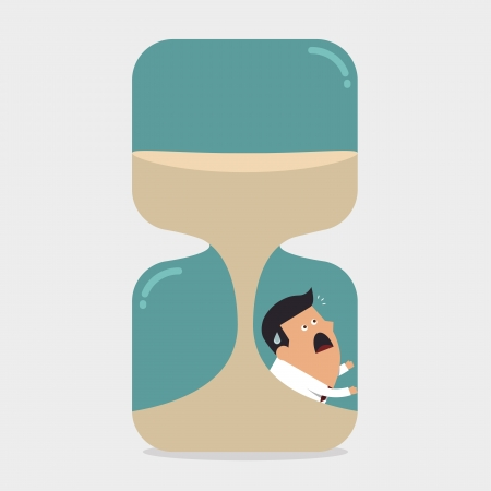 Businessman inside the hourglass, Business concept Illustration