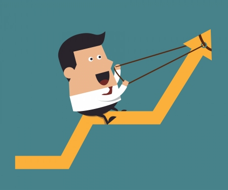 Young businessman pulling up a graph, Business concept Vector