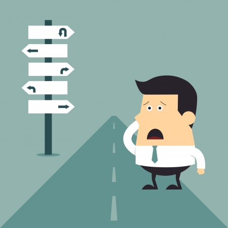 empezar: Joven empresario no sabe a dónde ir, concepto de negocio Vectores