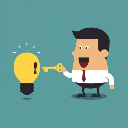 전구 아이디어, 사업 아이디어와 함께 황금 열쇠를 들고 사업가