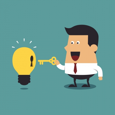 leadership key: Businessman holding a golden key with light bulb Idea, Business idea Illustration