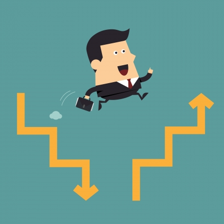 Businessman jump to next chart, Business concept Vector