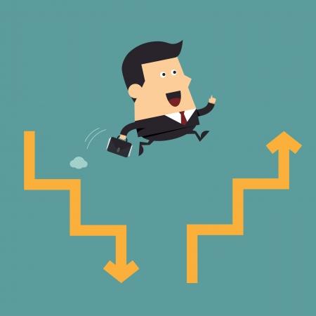 Zakenman sprong naar volgende grafiek, Business concept Vector Illustratie