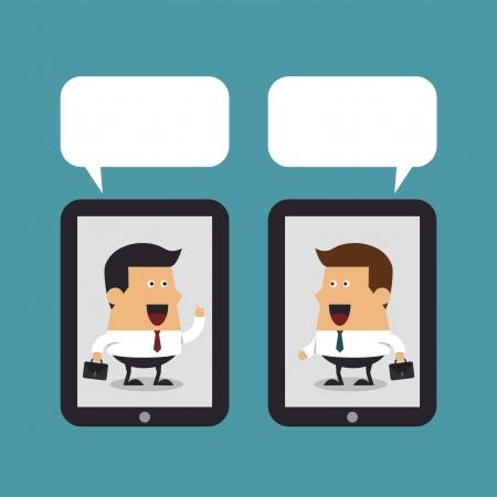 Uomo d'affari con tablet pc per comunicare, concetto di Business Archivio Fotografico - 24054242