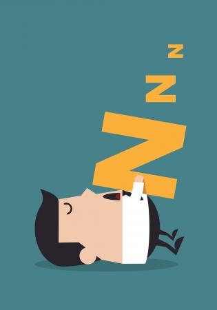 obrero caricatura: Joven empresario de dormir en el suelo, concepto de negocio