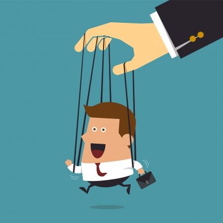 Jonge zakenman marionet aan touwen gecontroleerde, Business concept