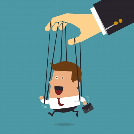 Young businessman marionette on ropes controlled, Business concept