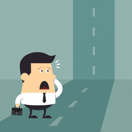 agape: Confused young businessman at the end of the road, Business concept Illustration