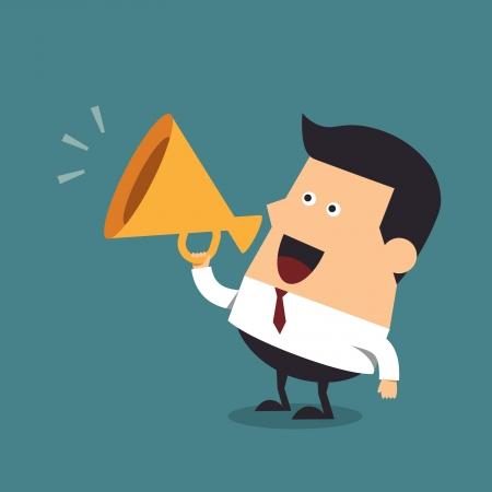 メガホン、ビジネス コンセプト青年実業家  イラスト・ベクター素材