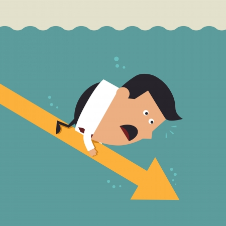gripe: Young businessman with falling arrow, Business concept