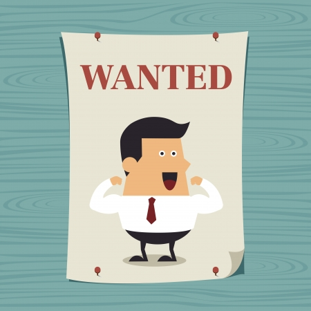 Young businessman in wanted poster, Business idea