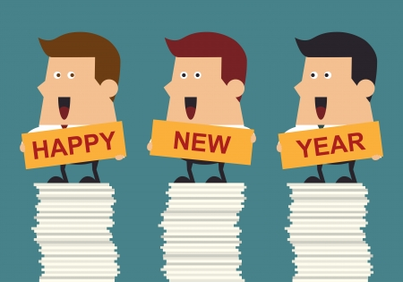 financial year: Happy businessman holding happy new year text on huge stack of paperwork, Business concept Illustration