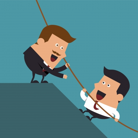 Boss giving hand to help young businessman from failed situation, Business concept Illustration