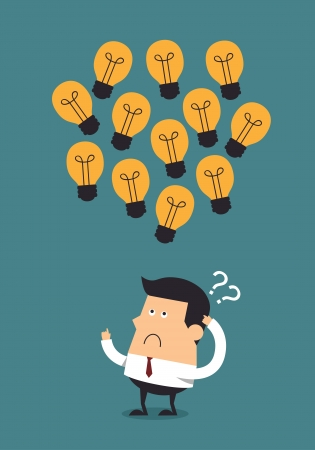 overhead: Young businessman thinking with light bulbs overhead