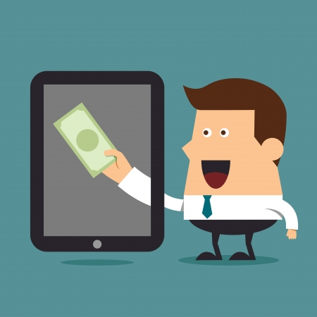earn: Gana dinero en l�nea, concepto de negocio Vectores