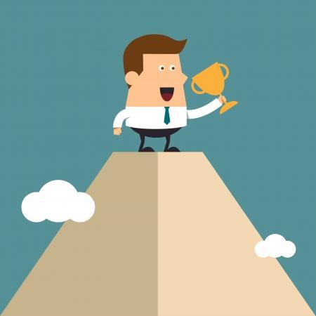 pico: Joven empresario levanta el trofeo en lo alto pico de alta monta�a, el concepto de negocios