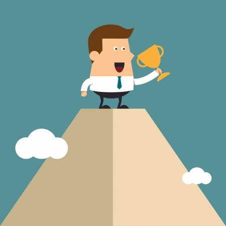 peak: Young businessman lifts trophy atop high mountain peak, Business concept Illustration