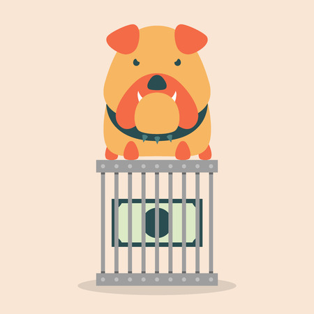 pit bull: Dollar bill in a steel cage with bulldog.