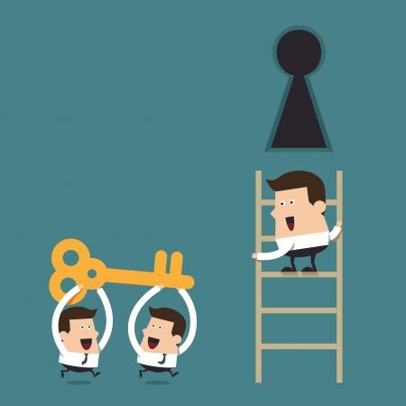 La résolution de problèmes en équipe, concept commercial Vecteurs