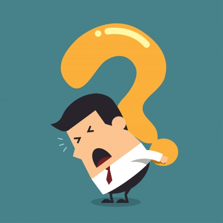 Young businessman with a big question mark, Business concept Vector