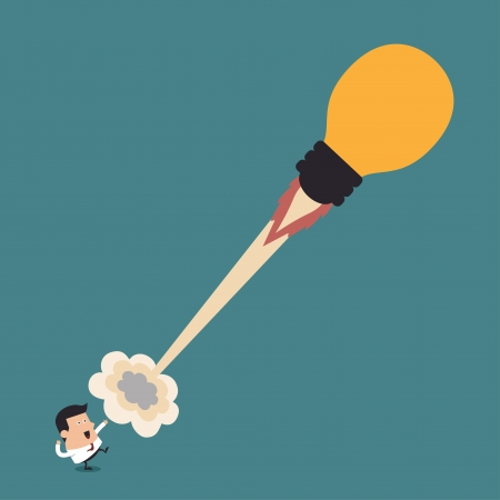 Young businessman with lightbulb rocket, Business concept Vector