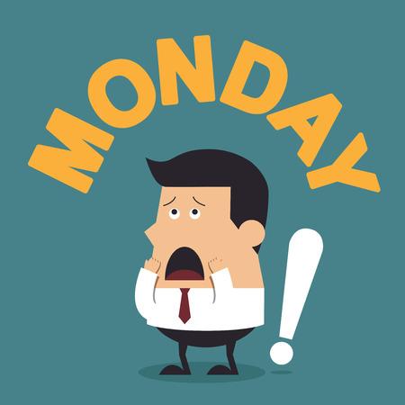 """megrémült: Fiatal, üzletember, az Ige """"hétfő"""", üzleti koncepció"""