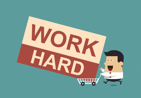 carting: Businessman With the Word  Work Hard and Shopping Carting, Business Concept