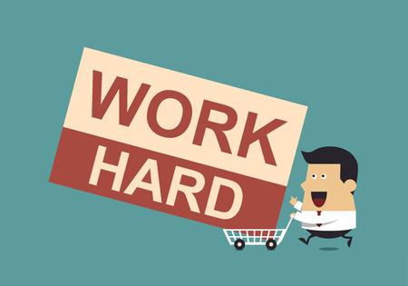 """carting: Hombre de negocios con el """"trabajo duro"""" Palabra y Compras Karting, concepto de negocio"""