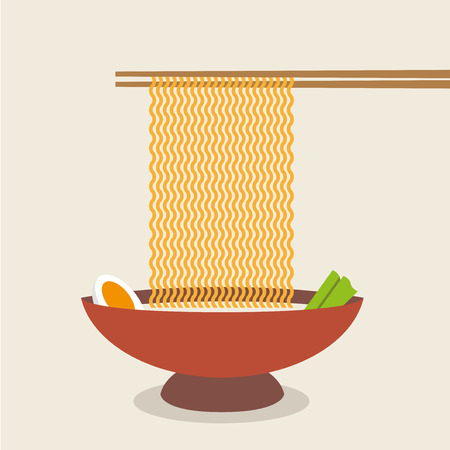 asian noodle: Illustration of chopsticks holding asian noodles.